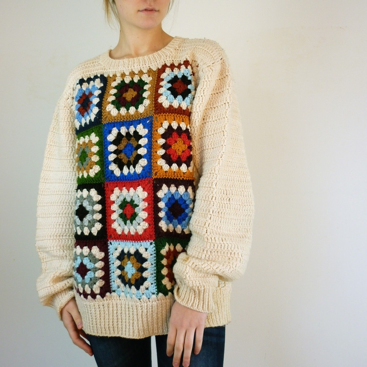 Crochet Granny Square Sweater Pattern : RESERVED. Granny Square Vintage Sweater