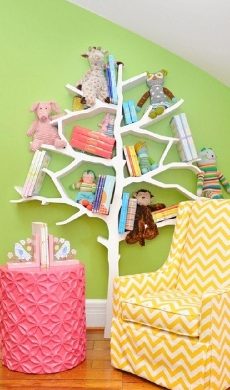 Tree shaped bookcase and chevron print armchair - Bookshelf shaped like a tree ...
