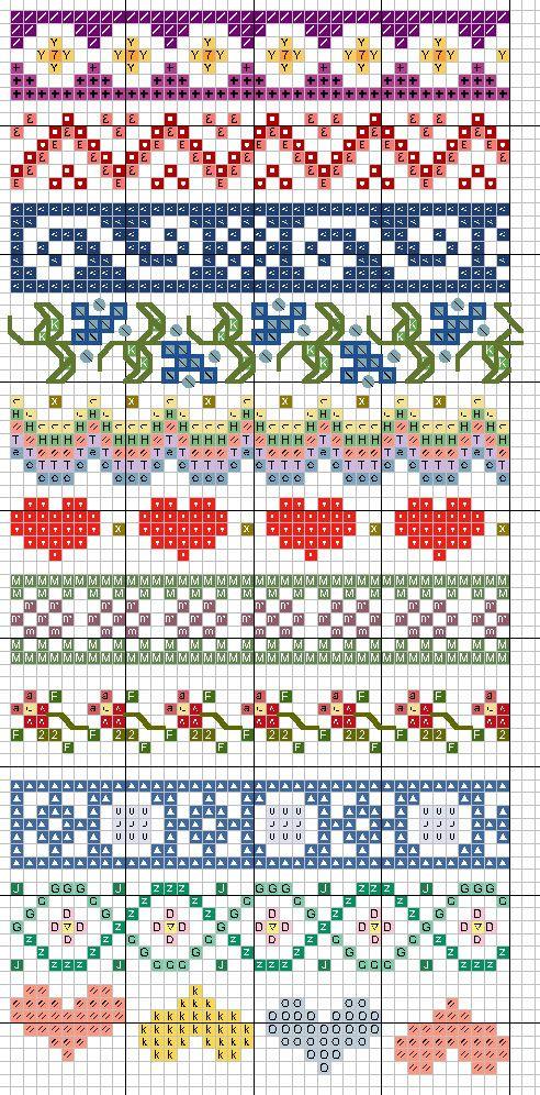 Вышивка с узорами в крестики 594