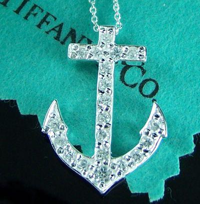Tiffany anchor diamond necklace
