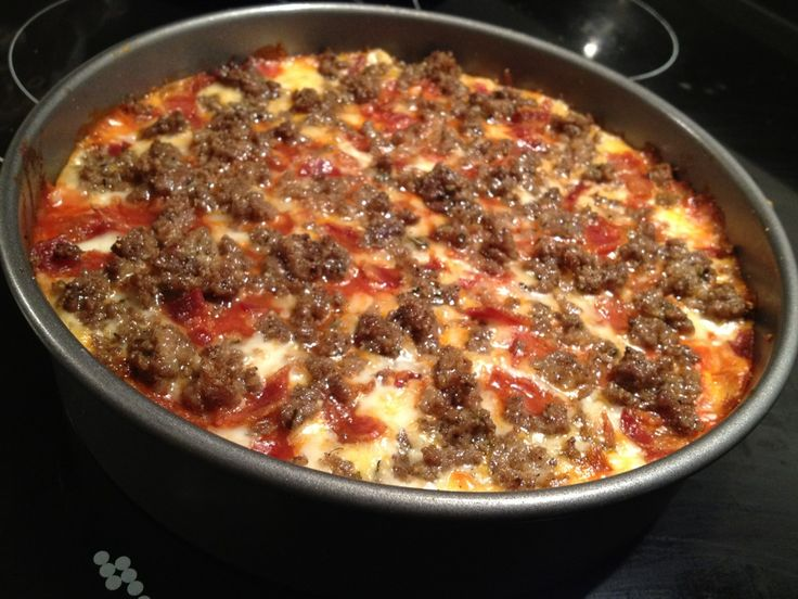 This is for a Bacon and Bison Low Carb Pizza. I loosely followed the ...