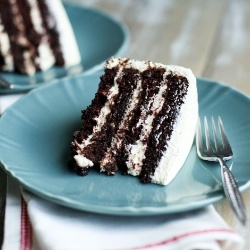 The best chocolate cake ever...and it's made with pudding frosting!