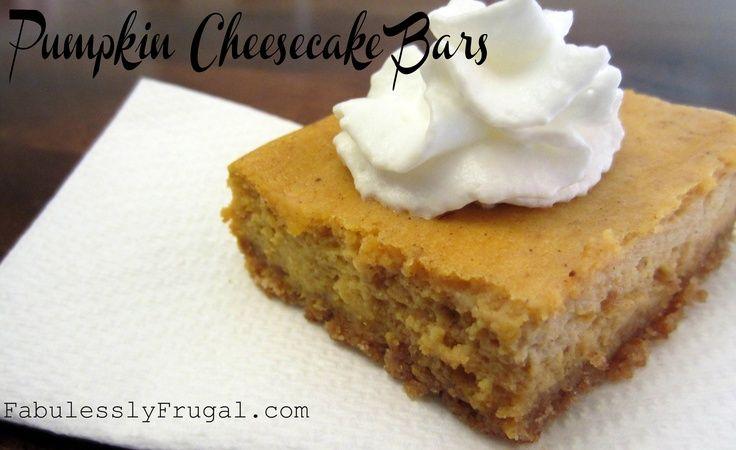 Pumpkin Cheesecake Bars. An easy | Desert | Pinterest