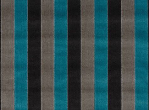 A black, gray, and turquoise striped velvet upholstery fabric.