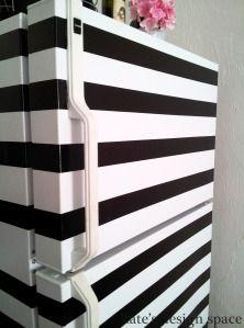 striped fridge, duct tape, black and white, rental kitchen