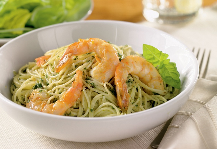 Pesto Pasta with sautéd Shrimp | Pasta | Pinterest