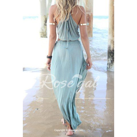 Bohemian Halter Neck Sleeveless Hollow Out High Furcal Women's Dress