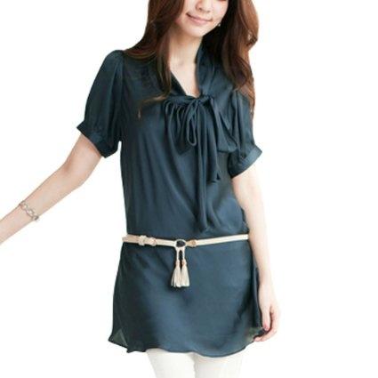 Women Butterflyknot Front Pullover Short Sleeve Long Shirt S: Clothing