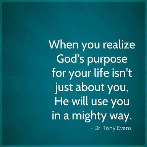 "God's purpose. Eph. 2:10 ""For we are His workmanship, created in Christ Jesus for good works, which God prepared beforehand so that we would walk in them."" We are here to glorify Him in everything we do, it's not about me-it's all about Him..."
