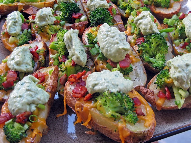 Cheddar Broccoli Loaded Baked Potato Skins with Avocado Creme