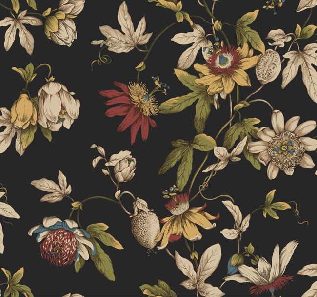 Vintage yellow tile bathroom - Black Ca7590 Tropical Floral Wallpaper Traditional Wallpaper