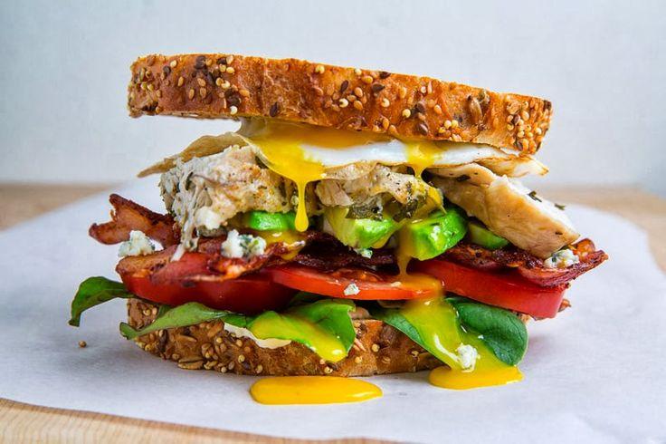 ... tomato, bacon, avocado, blue cheese, roast turkey and a fried egg