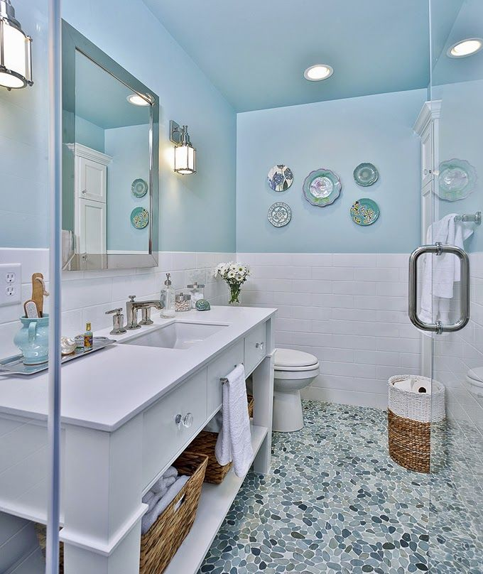 Benjamin moore 39 s spring sky wall colors pinterest for Spring bathrooms