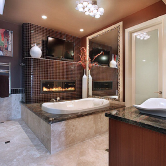 Fireplace In The Bathroom Dream Home Pinterest