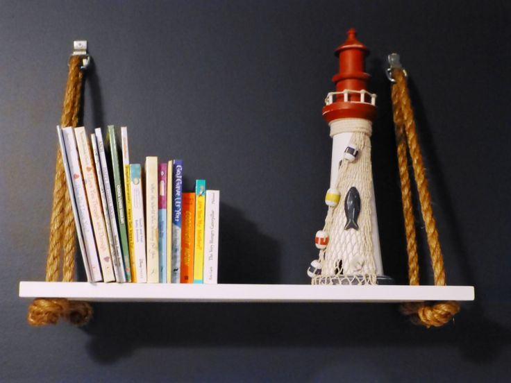 Adore these DIY nautical rope nursery shelves - #nautical #nursery