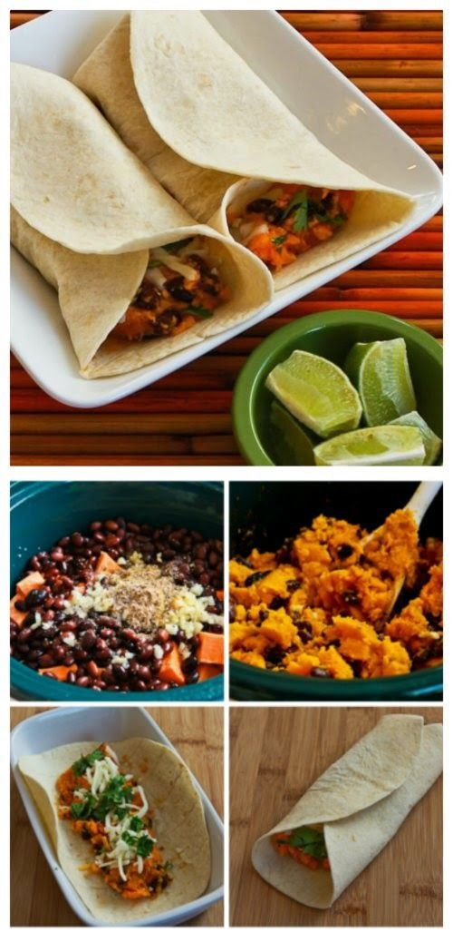 Slow Cooker Recipe for Sweet Potato and Black Bean Burritos with Lime