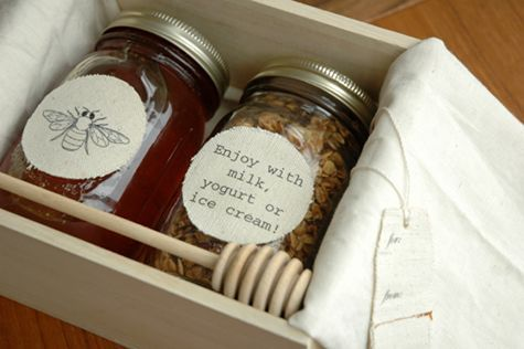 granola - with or without the honey.  yummy for a new neighbor as a housewarming gift, and so easy to throw together: the trick is using old ball jars or any recycled glass jars you have lying around, and a heavy canvas or muslin to iron on images, notes or even recipes.