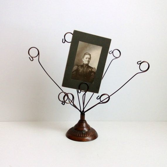 bronze metal photo holder vintage wire