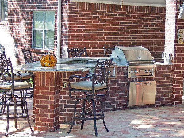 Red brick outdoor kitchen pinterest for Brick outdoor kitchen designs