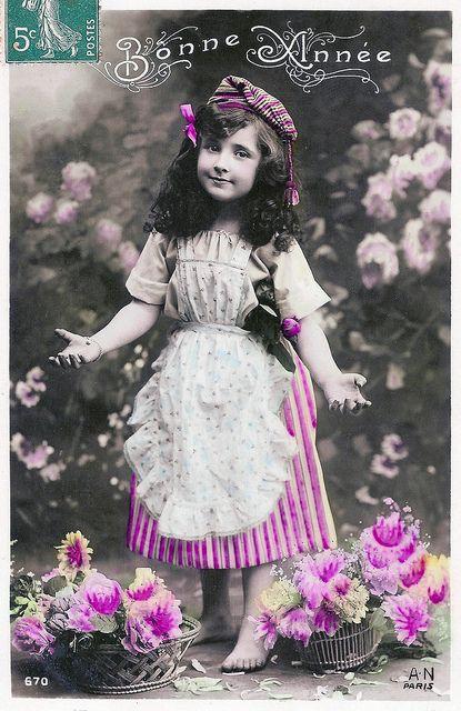 Bonne Année, vintage hand tinted postcard