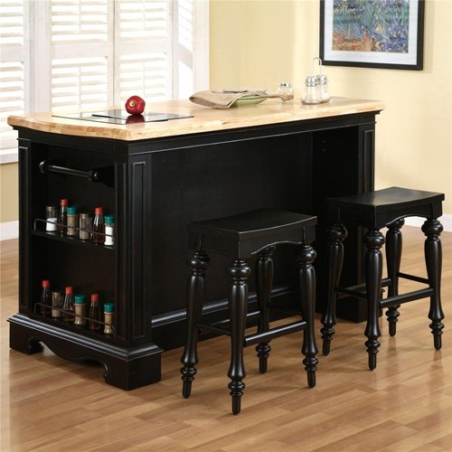 Pennfield 3 Pc Kitchen Island And Counter Stool Set By Powell