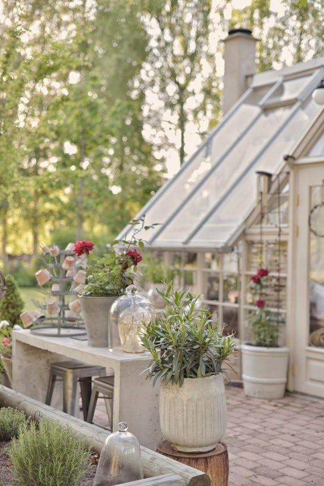 Tara Dillard: conservatory, color, canopy trees, patio, pots, matrimonio giardino