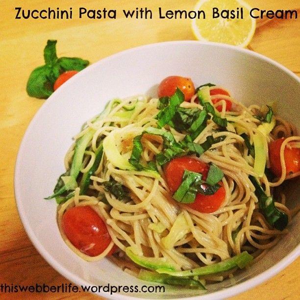 Zucchini pasta with lemon basil cream sauce! 250 calories per serving.