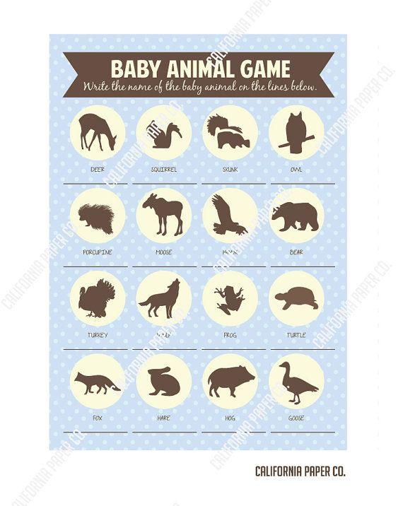 Baby Shower Animal Game