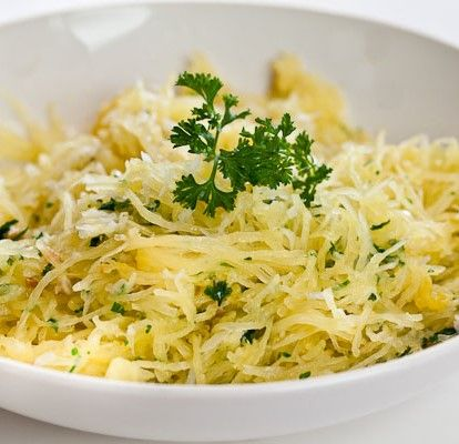 Baked Spaghetti Squash with Garlic and Butter. For potato intolerance ...