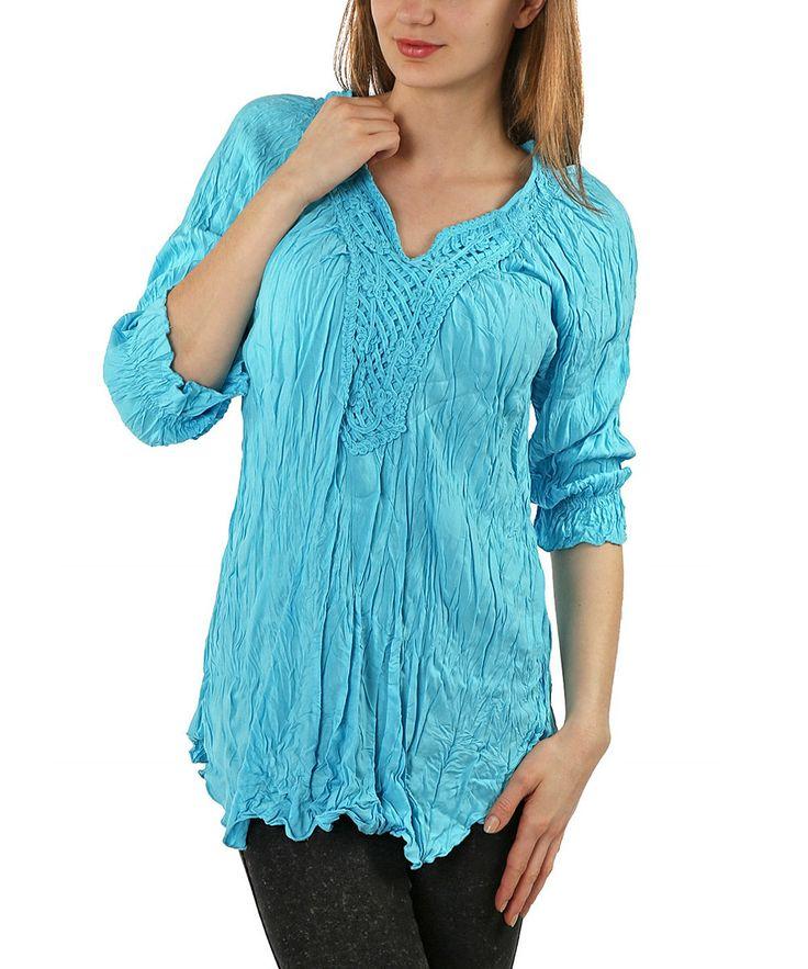 Turquoise Crochet Crinkle V-Neck Tunic - Women & Plus