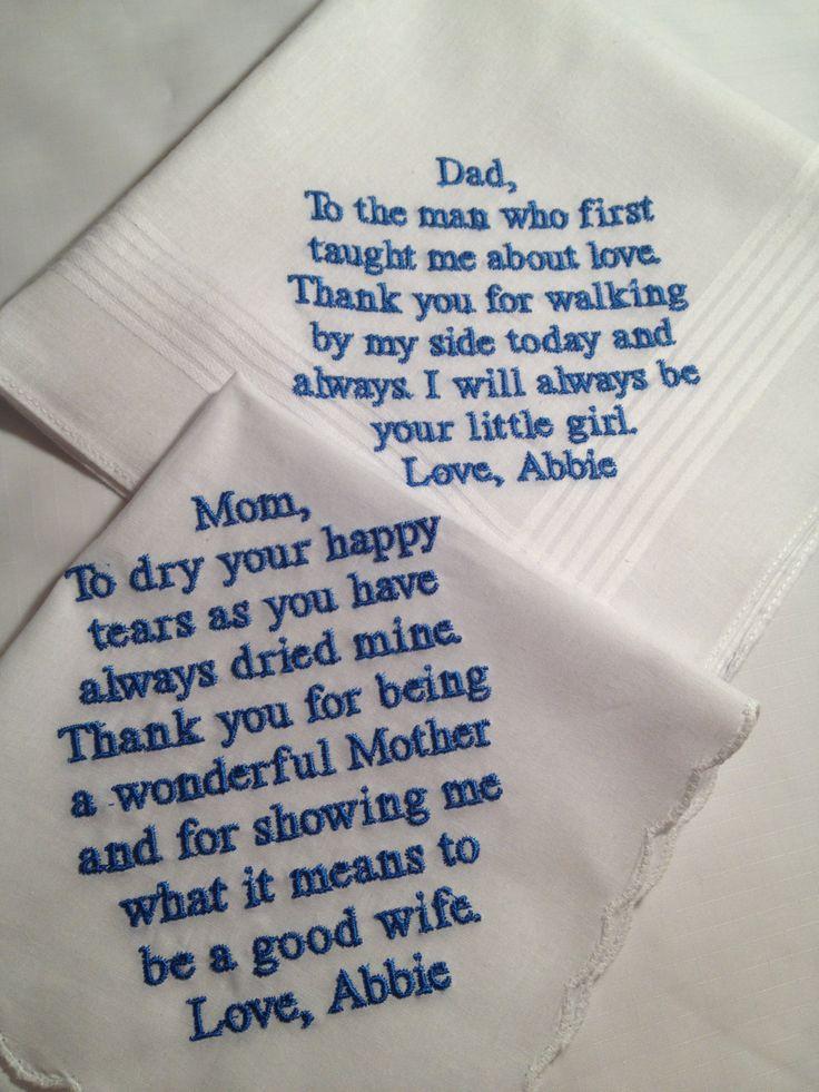 set di fazzoletti per madre e padre della sposa con pensiero ricamato