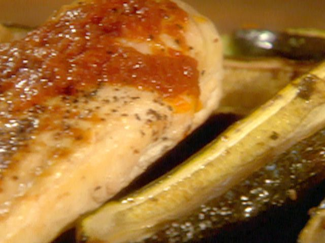 Grilled Chicken Breasts with Fire Roasted Tomato Sauce Roasted Zucchi ...