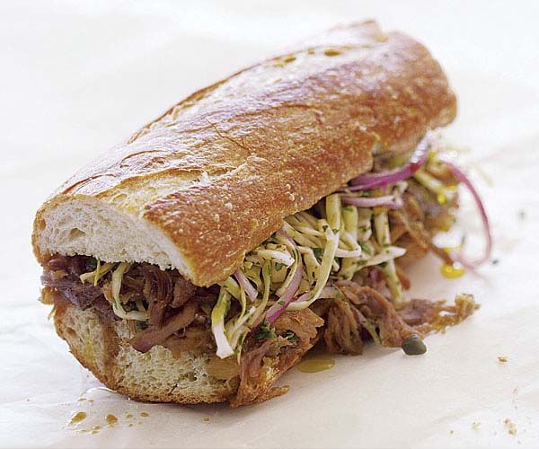 Pulled-Pork Sandwiches with Cabbage, Capers, and Herb Slaw | Recipe