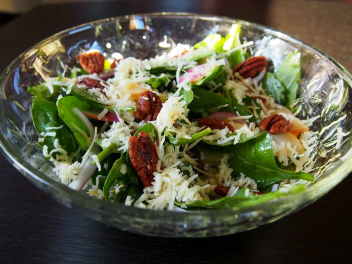 Spinach salad with smoked cheddar, apples, spiced pecans and white ...