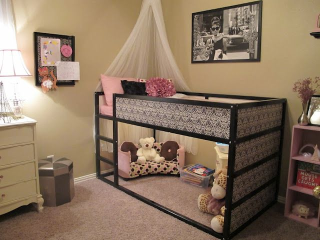 """Ikea hacked... bed and """"living room"""" area for a little girl"""