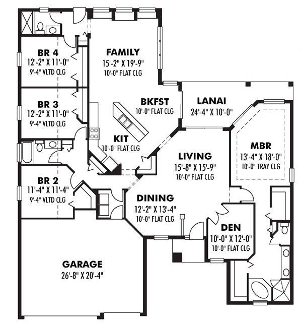 Contemporary Florida Ranch Traditional House Plan 66867
