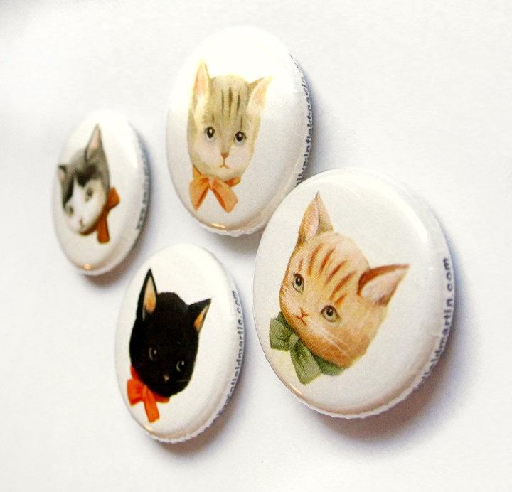 Pinback Button Pack: Kitten Pals. $8.00, via Etsy.