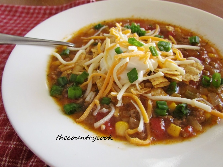 Taco Soup {Slow Cooker} | Mad About Soup | Pinterest