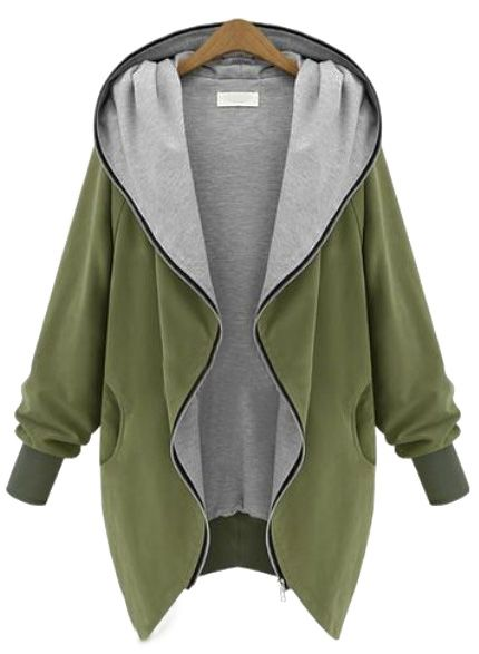 Green Hooded Long Sleeve Pockets Loose Coat