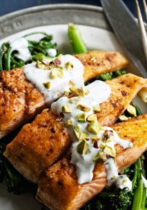 ... -Fried Arctic Char with Garam Masala, Broccolini and Yogurt Sauce