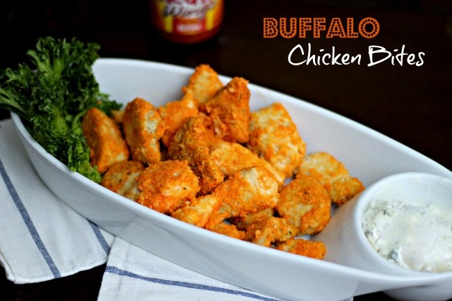 Baked Buffalo Chicken Bites serves 4, about 7 pieces for only 5 p+