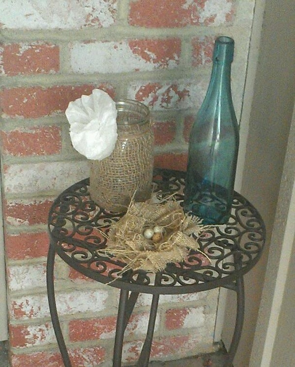 Burlap Wrapped Ball Jar and Burlap Birds Nest made 3/23 at Craft Night.