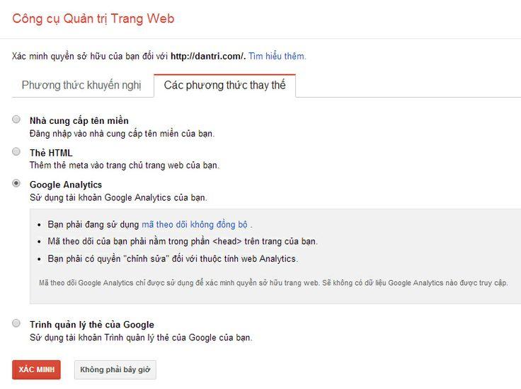 Xác minh quyền sở hữu trang web với google webmaster tool qua google analytics