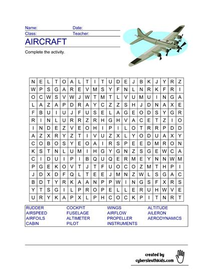 ... | Aircraft - Free Word Search Printable Puzzles to Download for Kids
