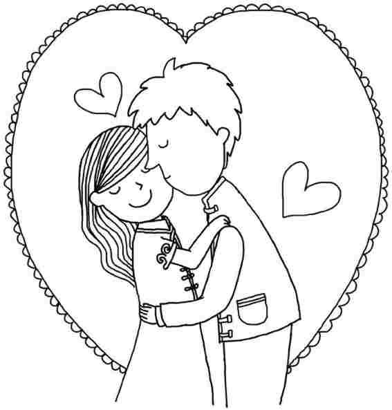 Lovers | Valentines Day Coloring | Pinterest