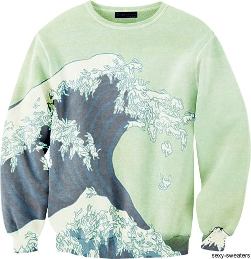"""yes I would wear this spring green sweater that contains Hokusai's """"The great wave."""""""