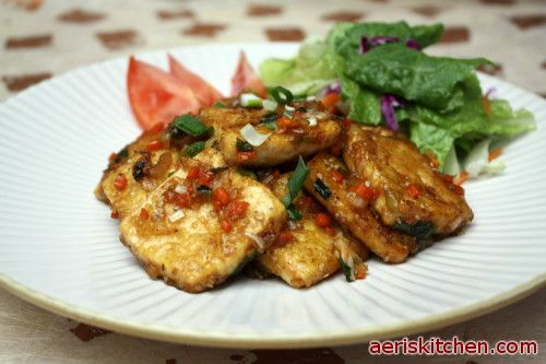 Tofu jorim. Fried tofu cooked in a slightly sweet soy & ginger sauce ...
