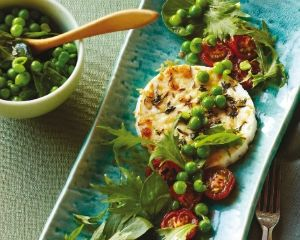 Baked ricotta with chilli roast tomatoes and peas | Recipe
