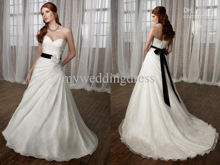 White WEDDING DRESS with black sash bride Wonderful Wedding Dre
