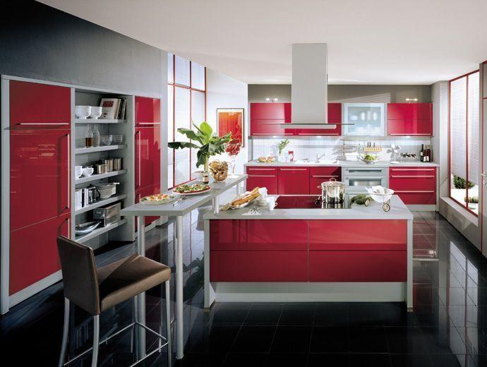 Red Silver modern kitchen  Dream Home Kitchen  Pinterest